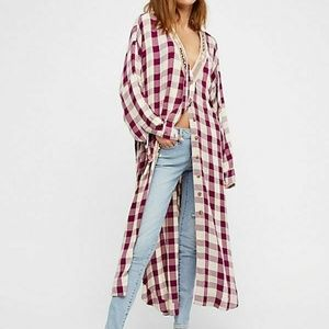 Free People  Buttondown Plaid Embroidered Top XS